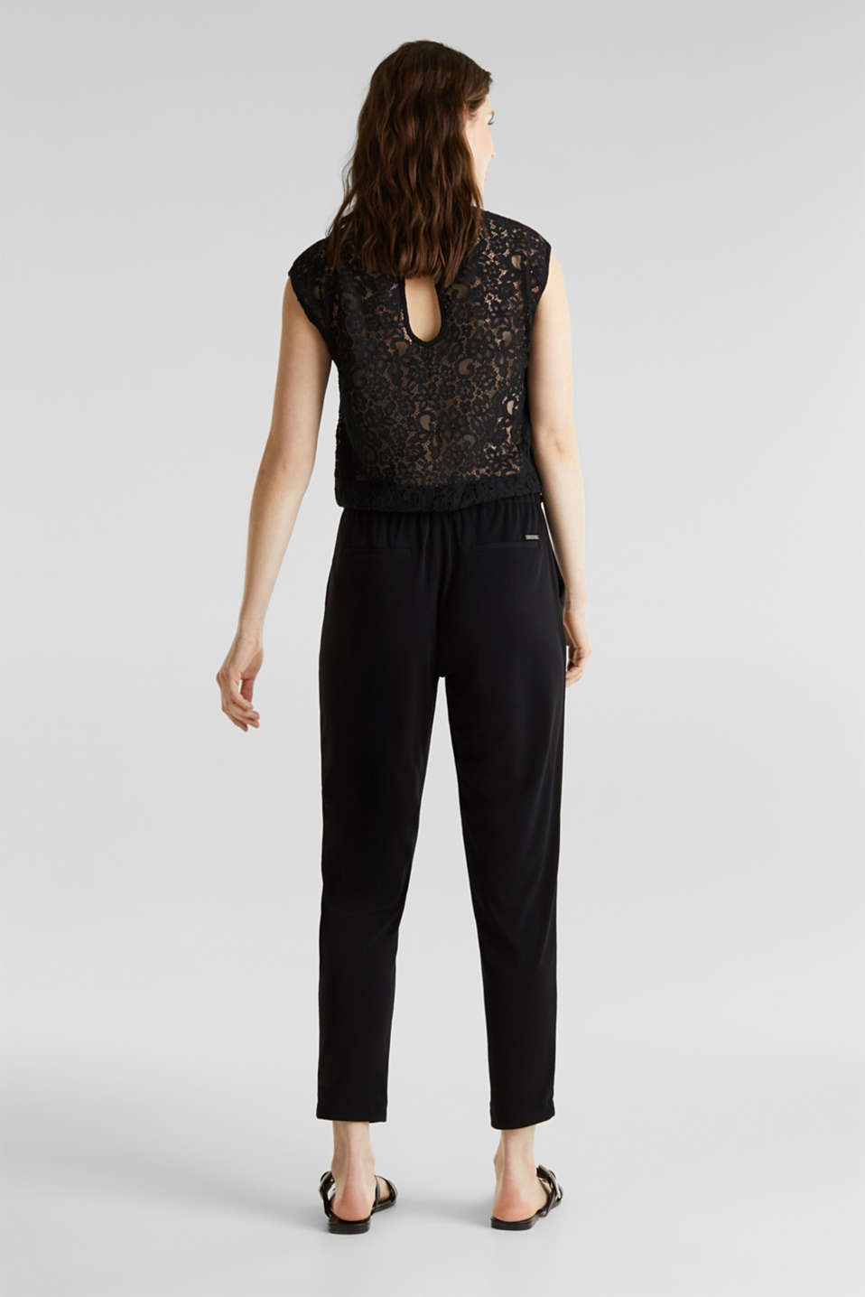 Jersey jumpsuit with lace back, BLACK, detail image number 2