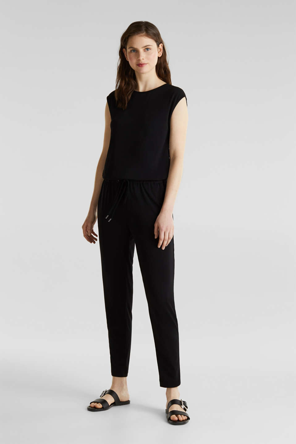 Jersey jumpsuit with lace back, BLACK, detail image number 5