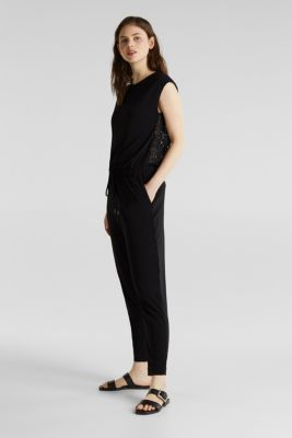 Jersey jumpsuit with lace back, BLACK, detail