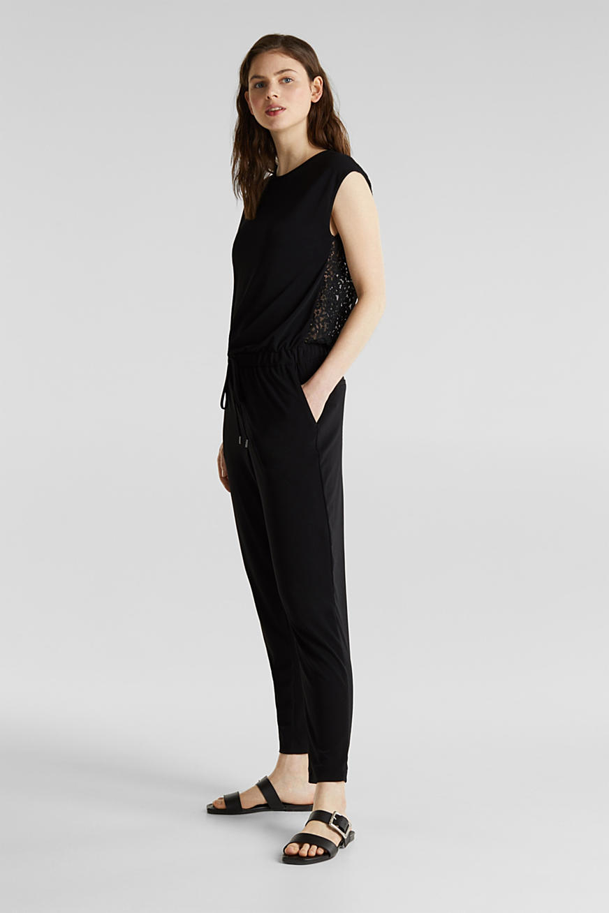 Jersey jumpsuit with lace back