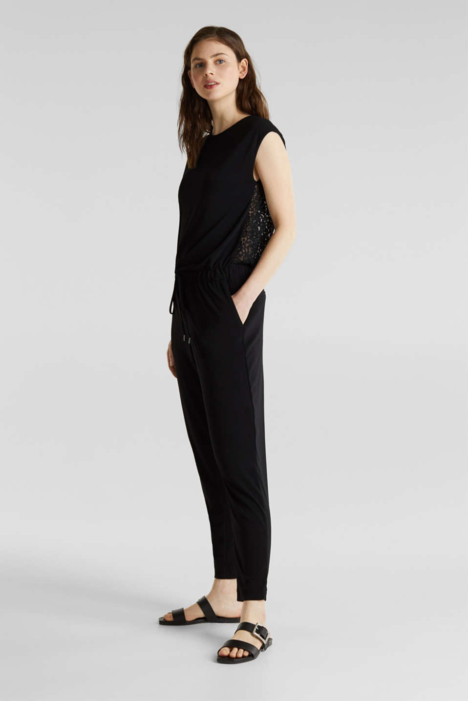 Jersey jumpsuit with lace back, BLACK, detail image number 1