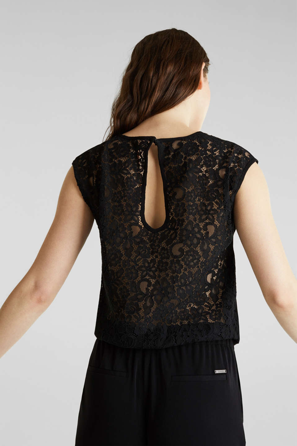 Jersey jumpsuit with lace back, BLACK, detail image number 3