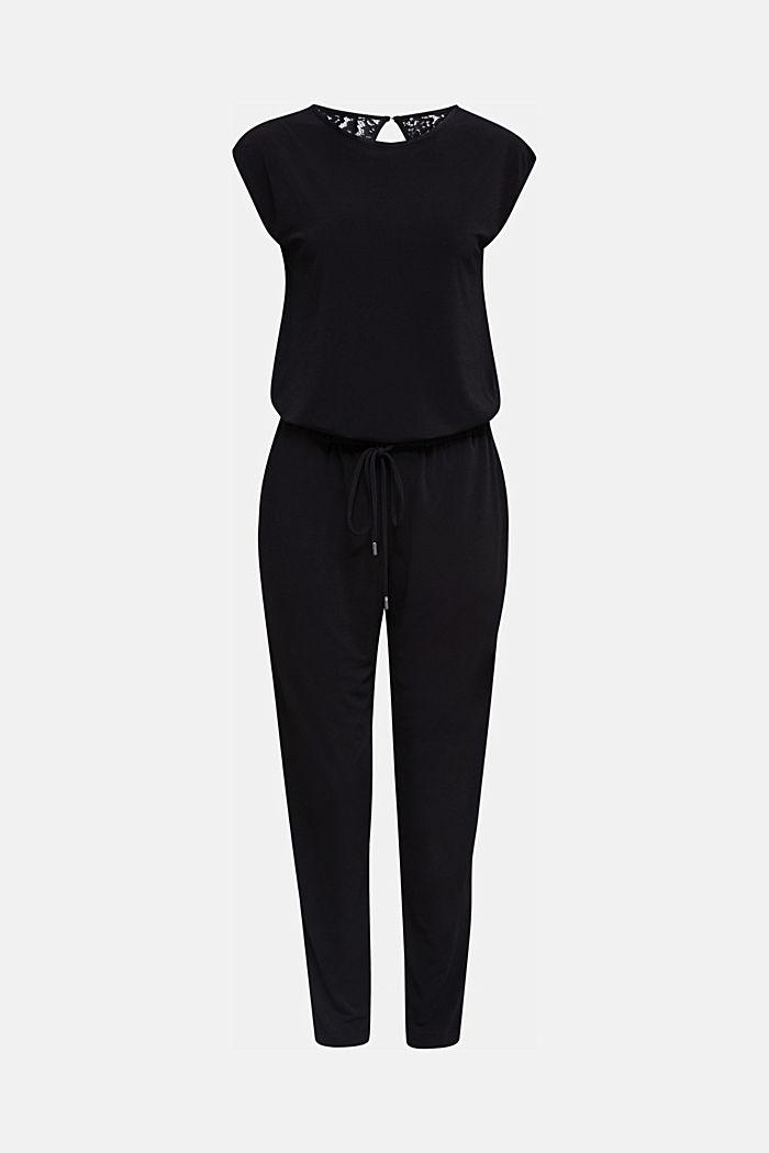 Jersey-Jumpsuit mit Spitzen-Rücken