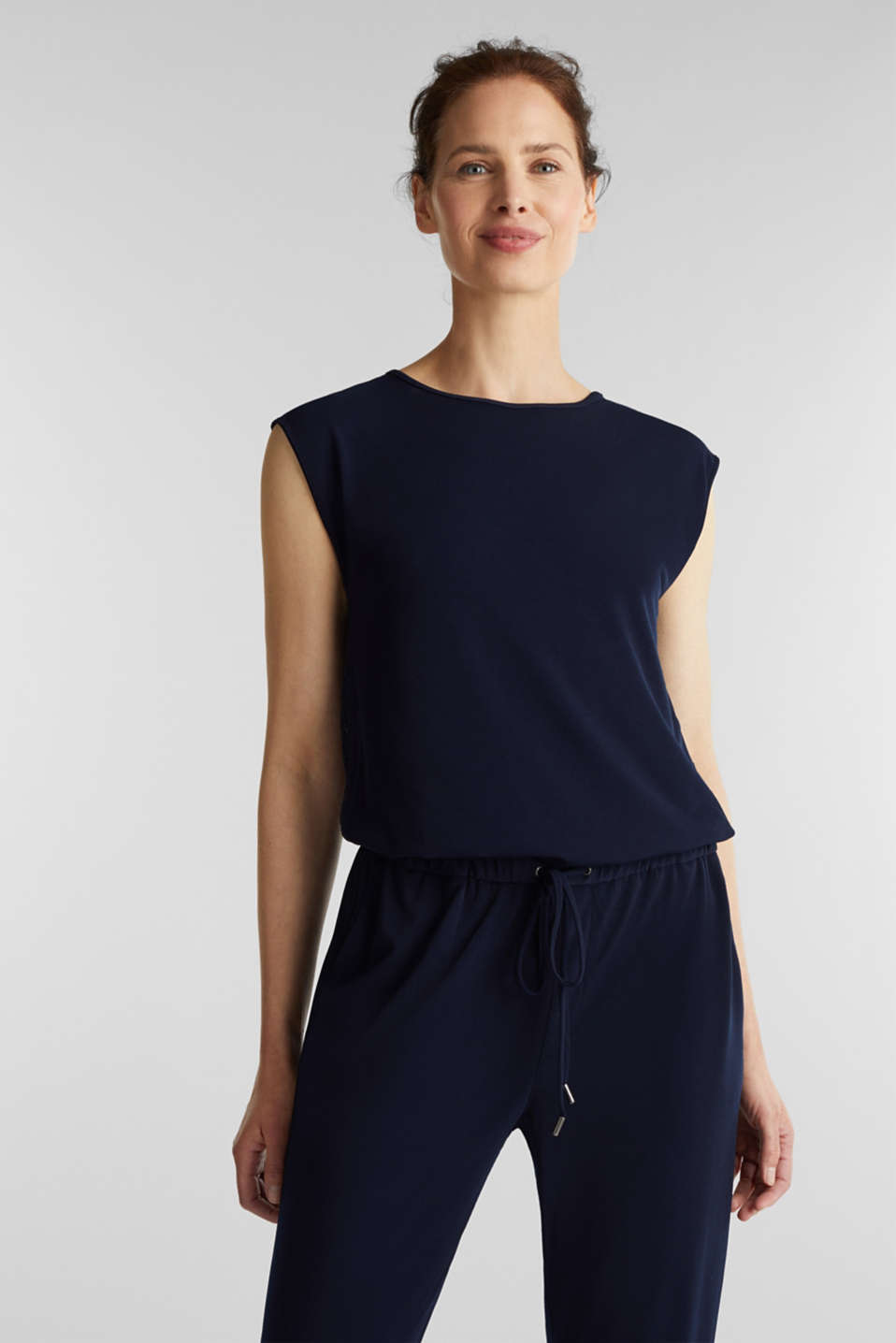 Jersey jumpsuit with lace back, NAVY, detail image number 0