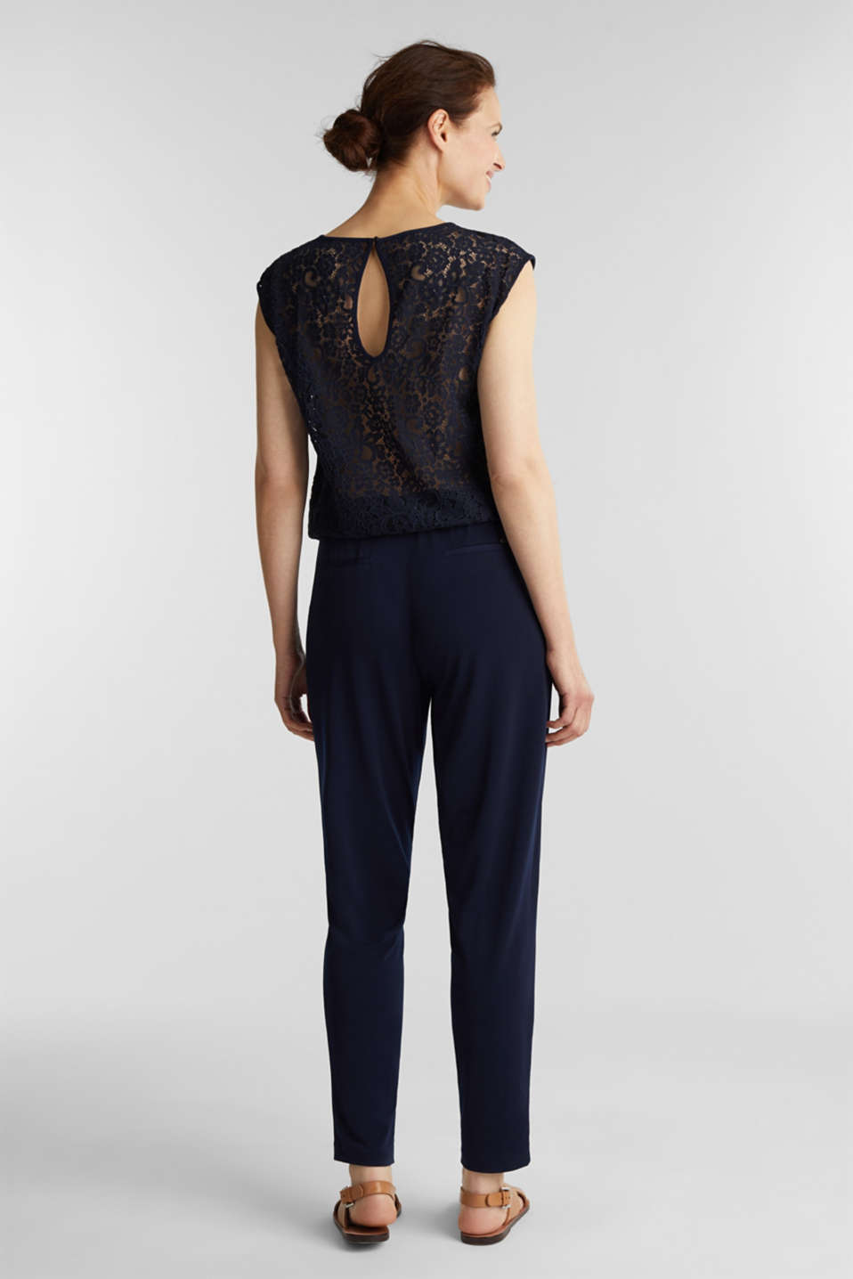 Jersey jumpsuit with lace back, NAVY, detail image number 2