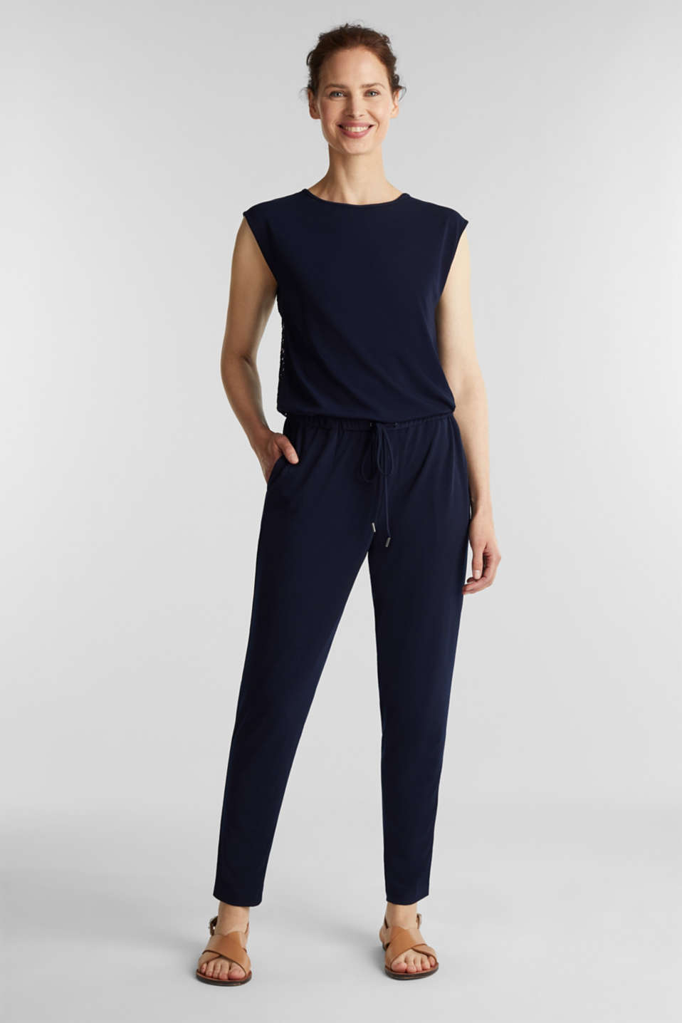 Jersey jumpsuit with lace back, NAVY, detail image number 1