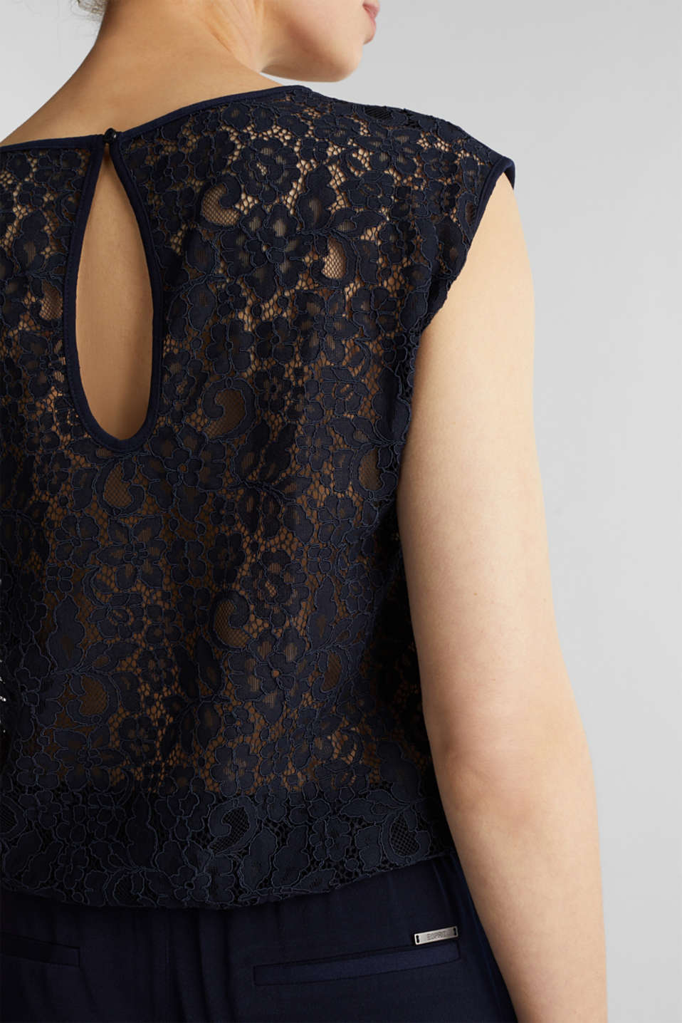 Jersey jumpsuit with lace back, NAVY, detail image number 3