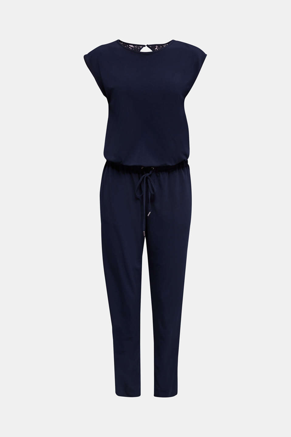 Jersey jumpsuit with lace back, NAVY, detail image number 5