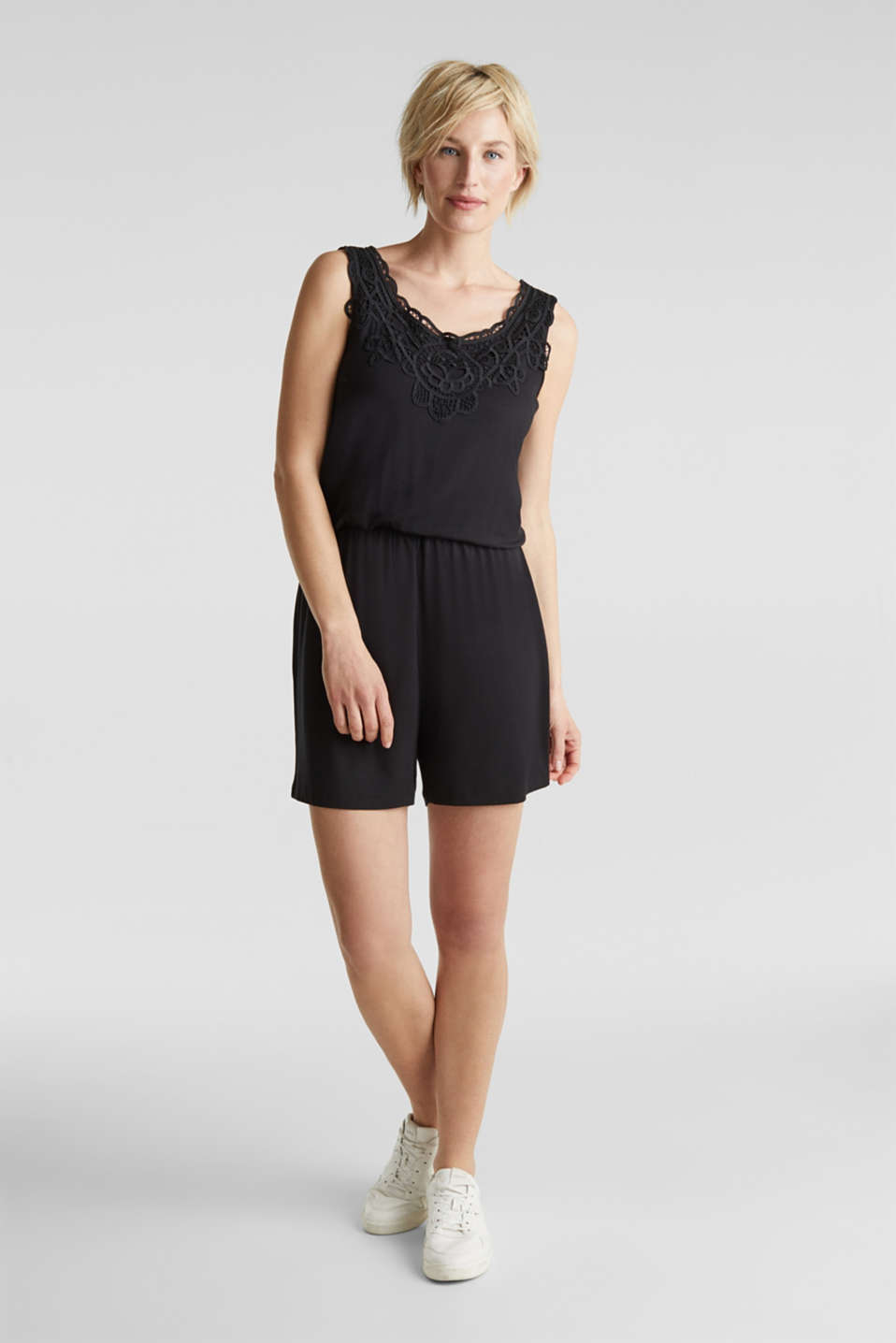 Jersey playsuit with lace, BLACK, detail image number 1