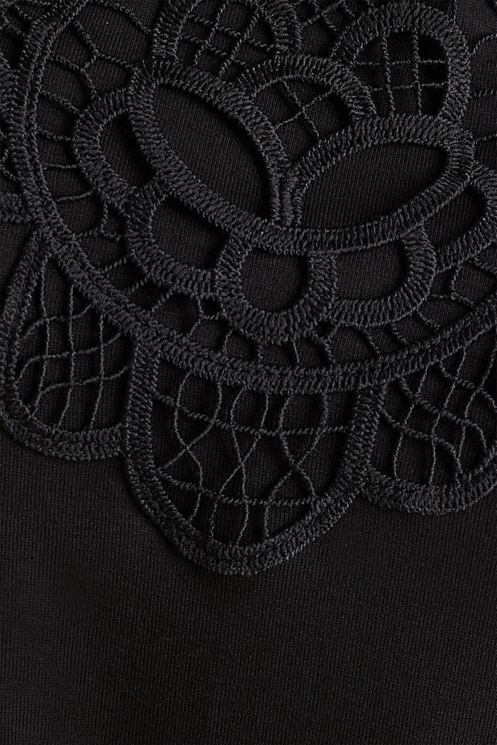 Jersey-Playsuit mit Spitze, BLACK, detail image number 4