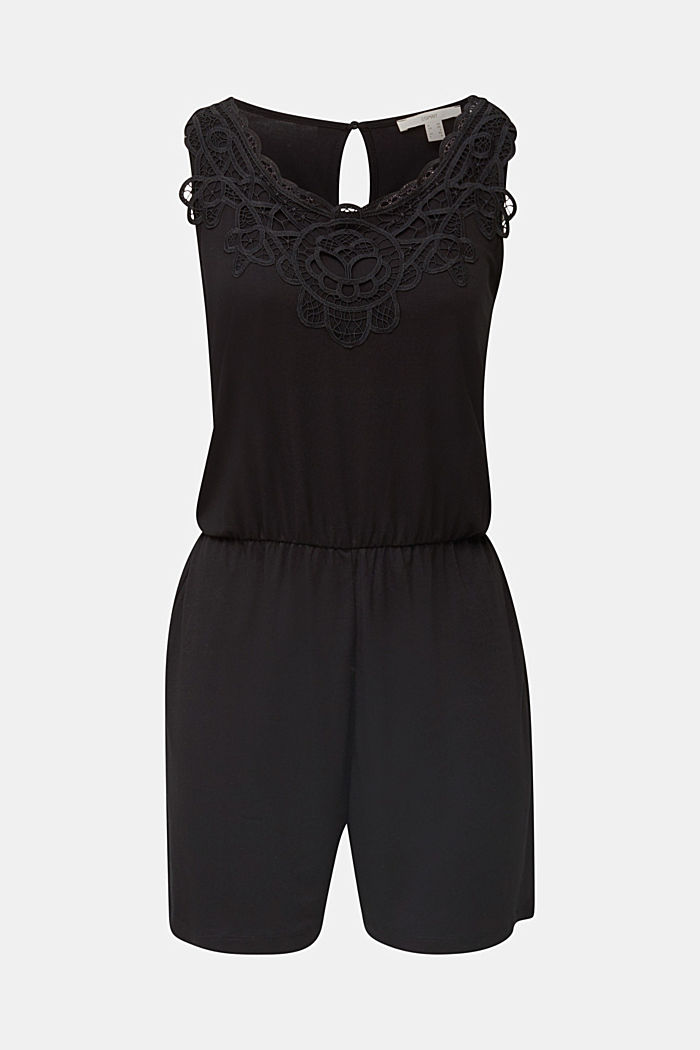 Jersey-Playsuit mit Spitze, BLACK, overview