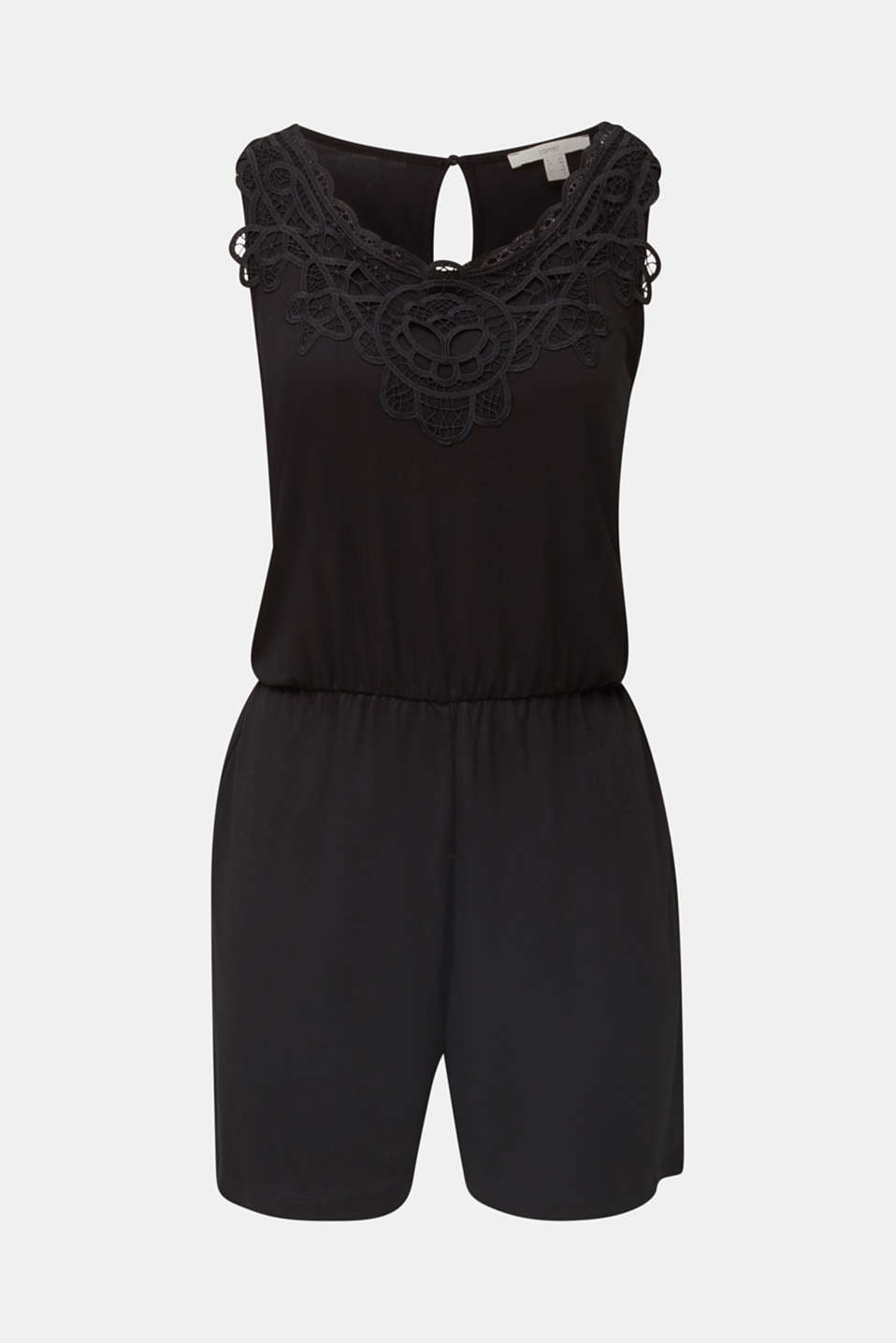 Jersey playsuit with lace, BLACK, detail image number 6