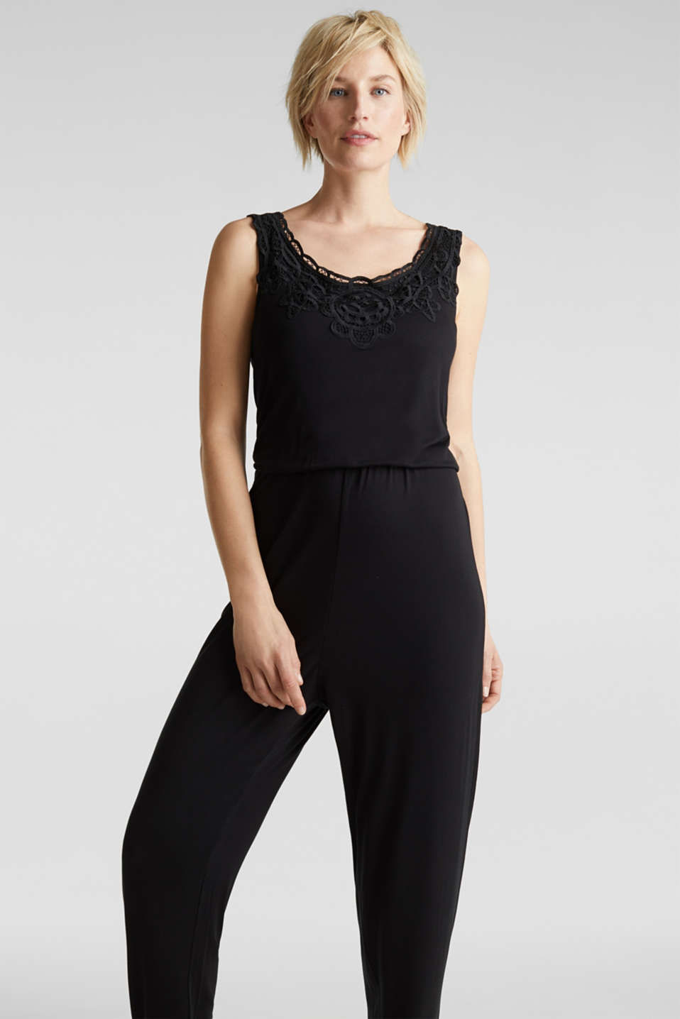 Jersey jumpsuit with a lace trim, BLACK, detail image number 0