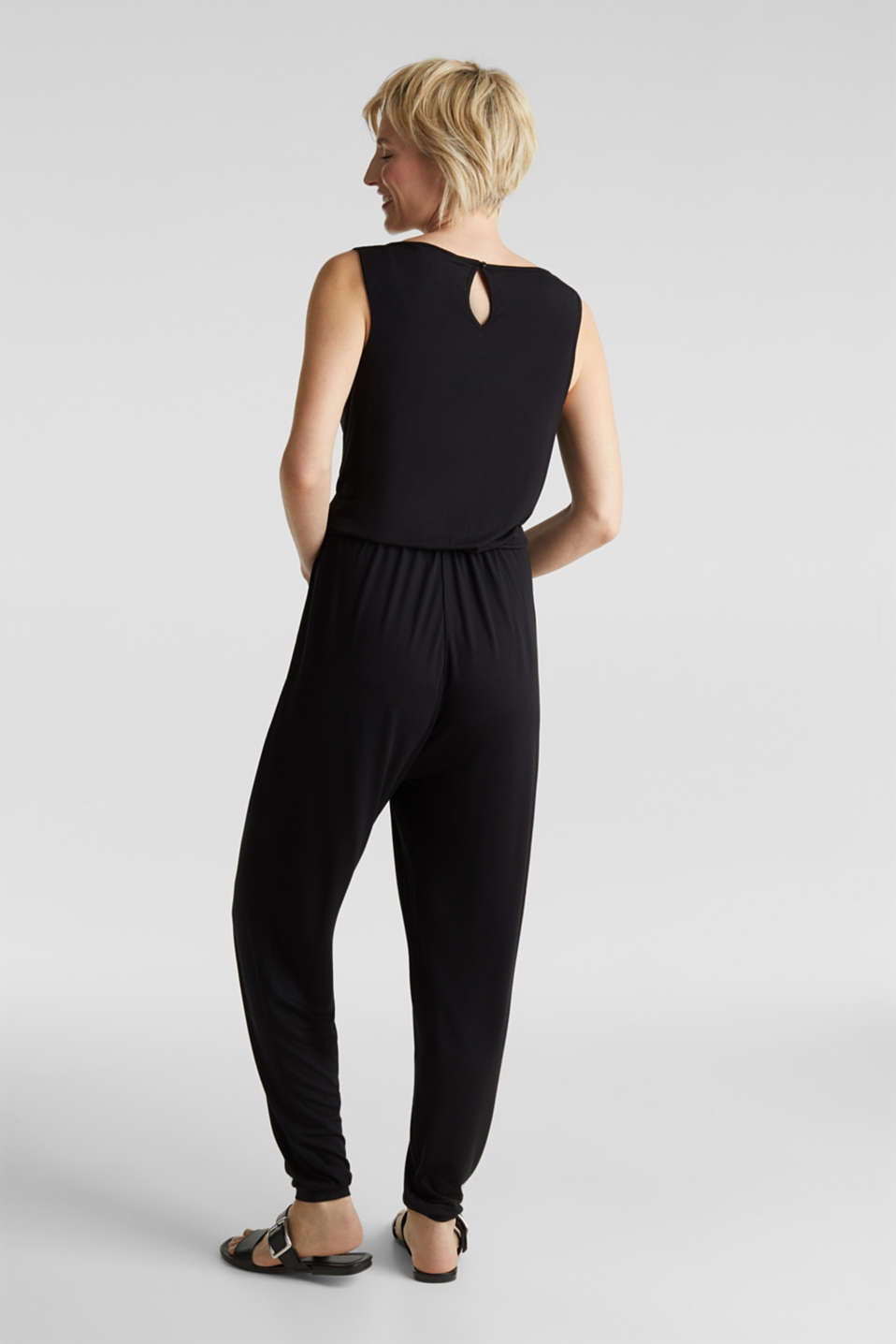 Jersey jumpsuit with a lace trim, BLACK, detail image number 2