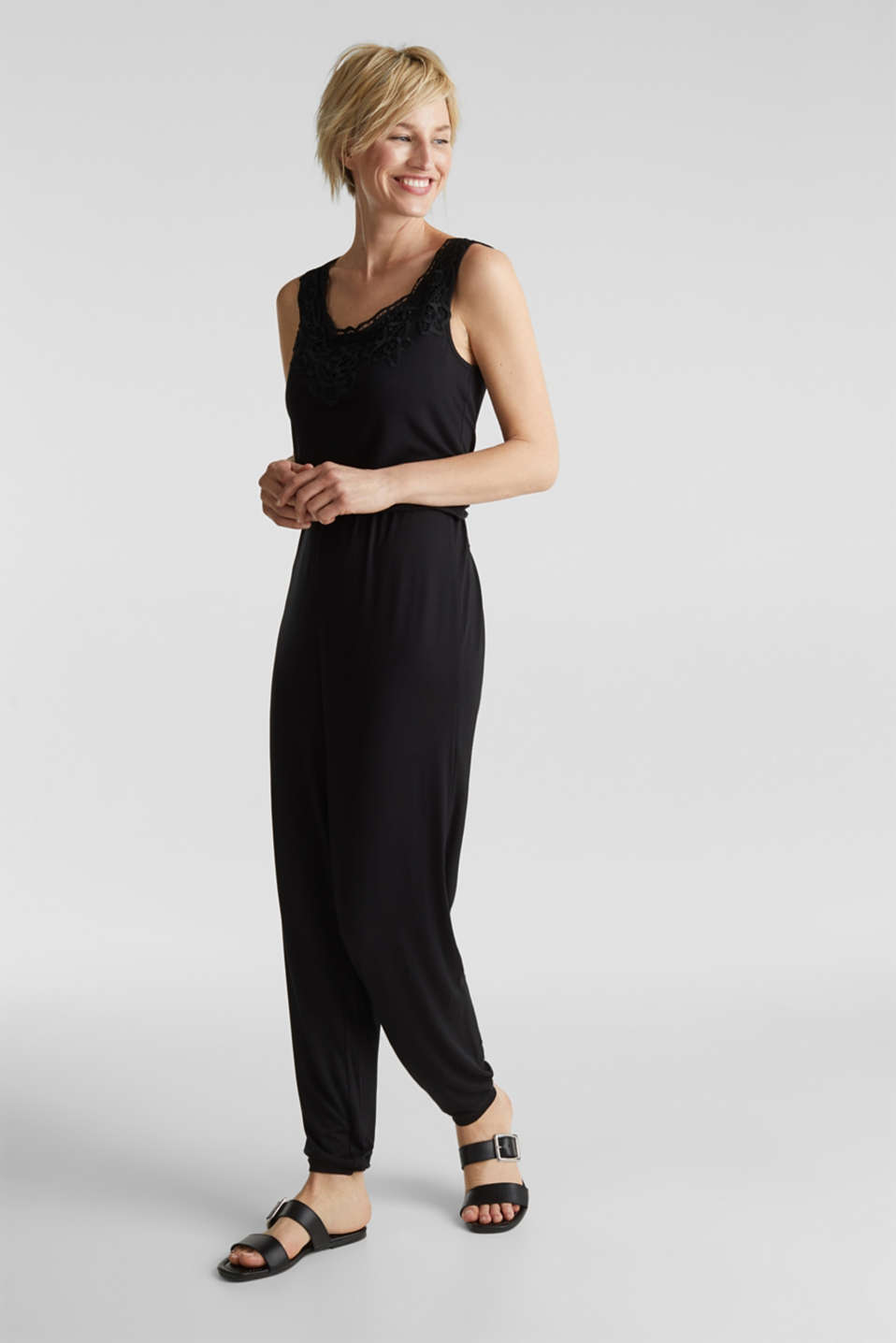 Jersey jumpsuit with a lace trim, BLACK, detail image number 1