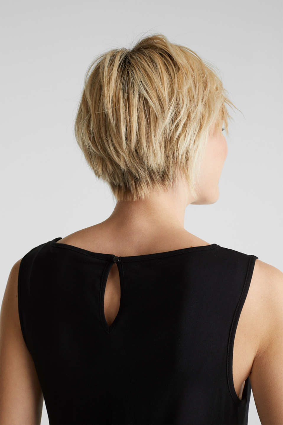 Jersey jumpsuit with a lace trim, BLACK, detail image number 3