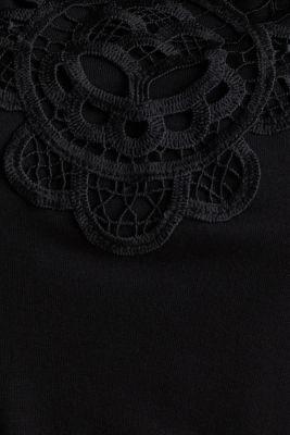 Jersey jumpsuit with a lace trim, BLACK, detail