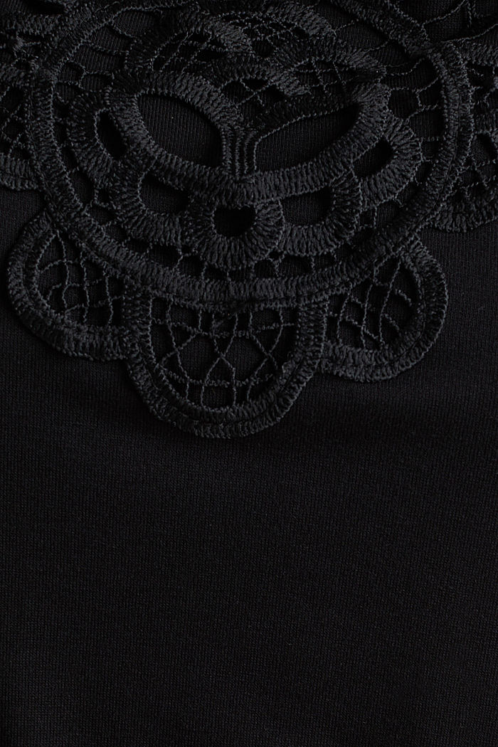 Tuta in jersey con inserto in pizzo, BLACK, detail image number 4