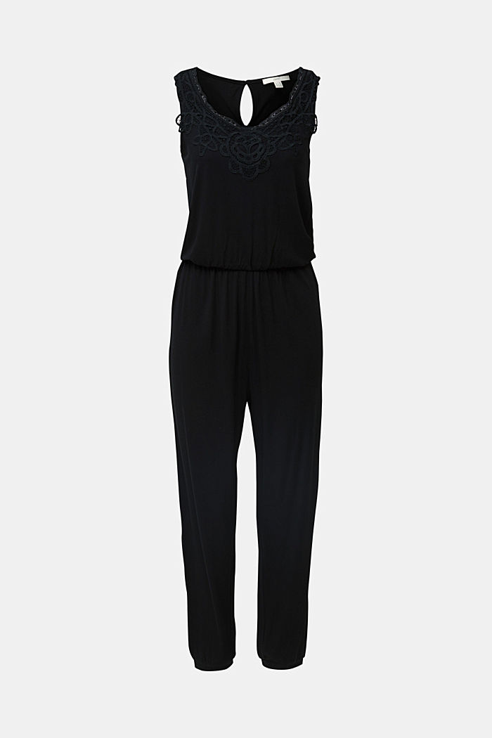 Tuta in jersey con inserto in pizzo, BLACK, detail image number 5
