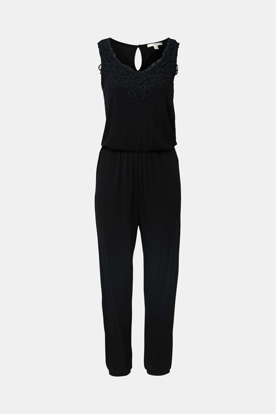 Jersey jumpsuit with a lace trim, BLACK, detail image number 5
