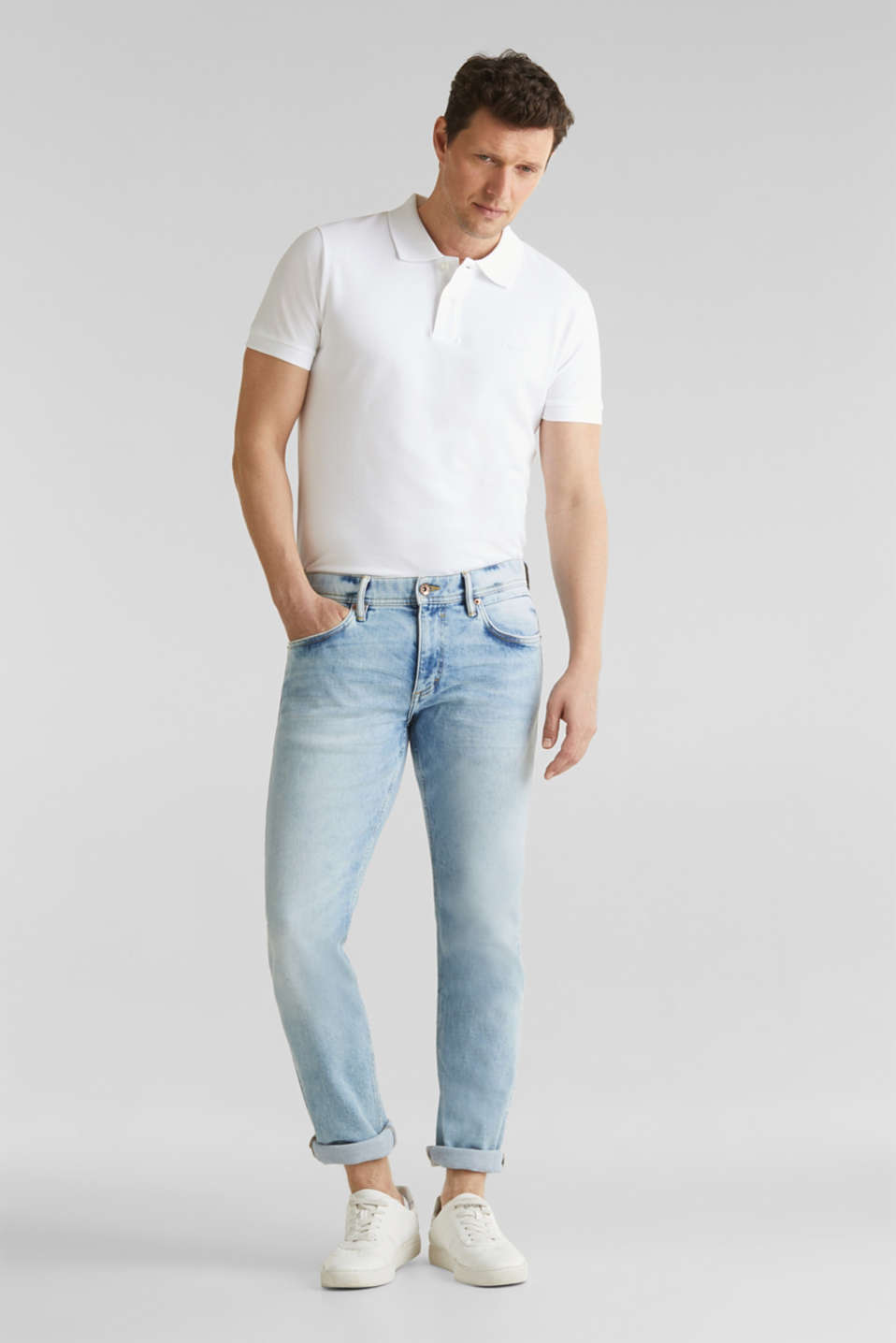 Super stretch jeans with a stone wash, BLUE LIGHT WASH, detail image number 2