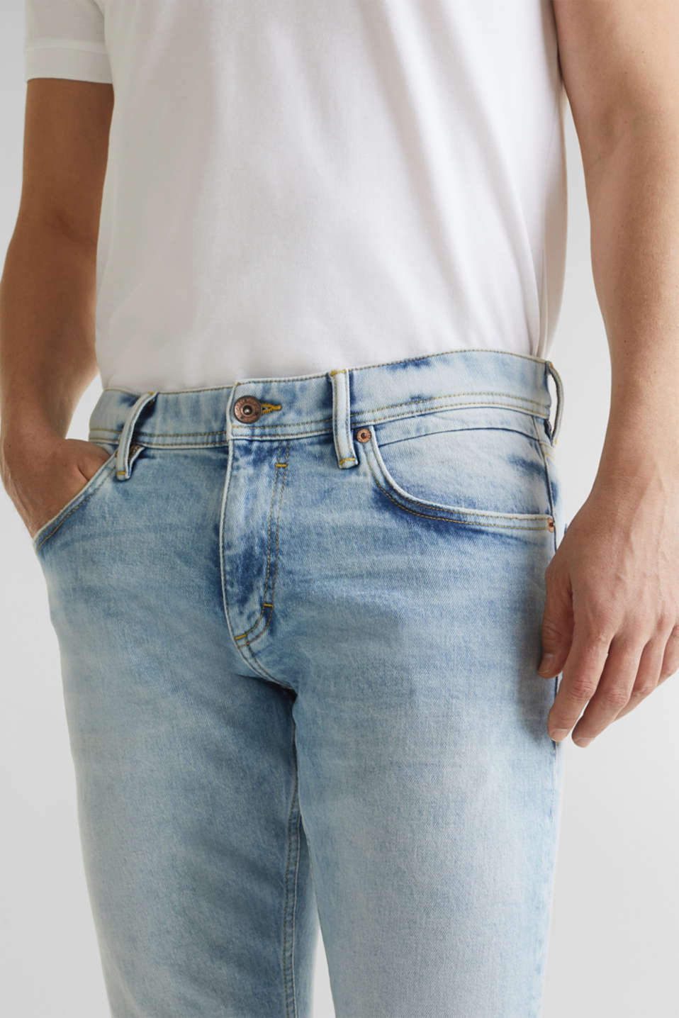 Super stretch jeans with a stone wash, BLUE LIGHT WASH, detail image number 3