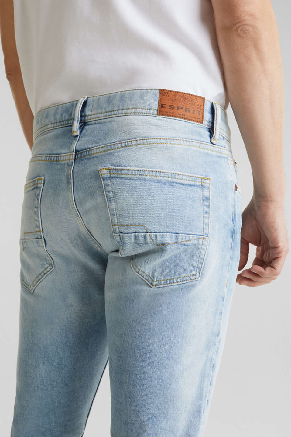 Super stretch jeans with a stone wash, BLUE LIGHT WASH, detail image number 5