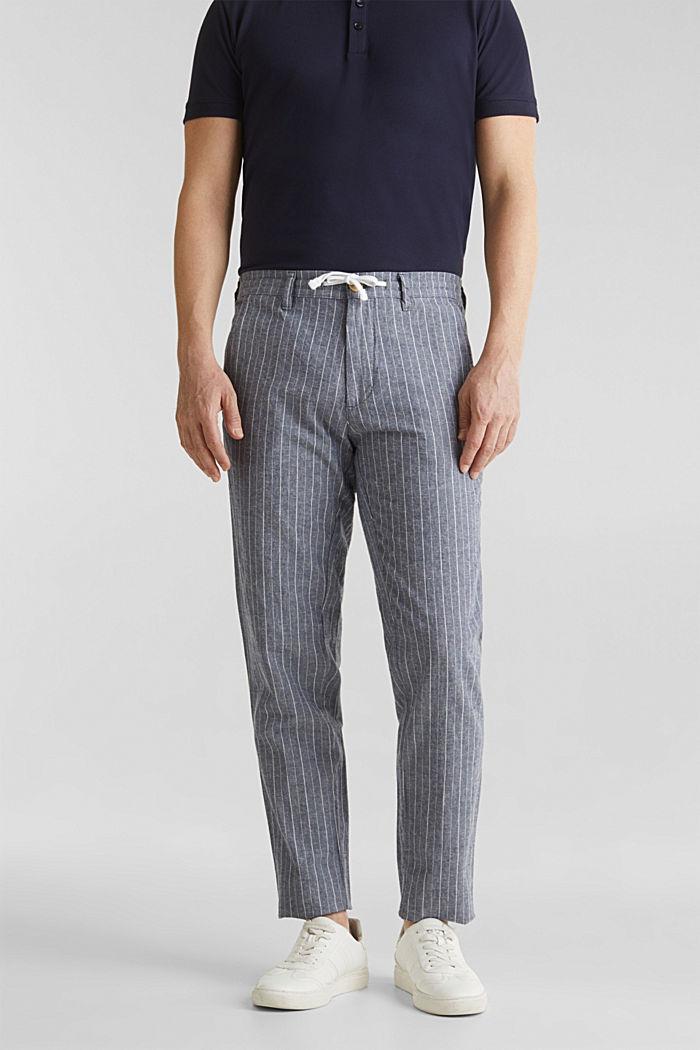 Blended linen: Drawstring trousers, BLUE, detail image number 0