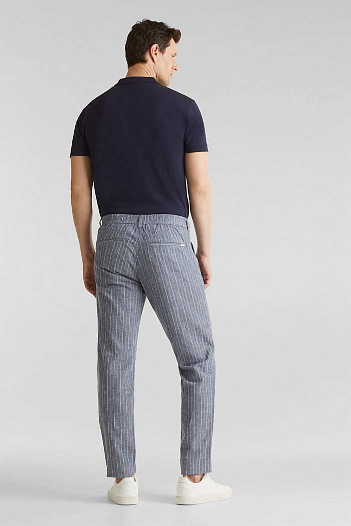 Blended linen: Drawstring trousers, BLUE, detail image number 3