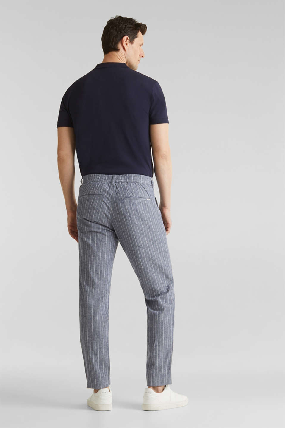 Blended linen: Drawstring trousers, BLUE, detail image number 3