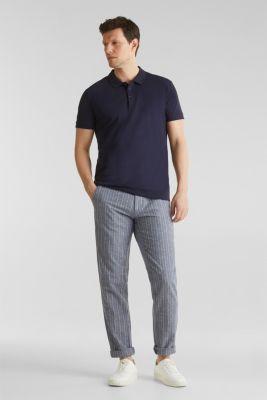 Blended linen: Drawstring trousers, BLUE, detail