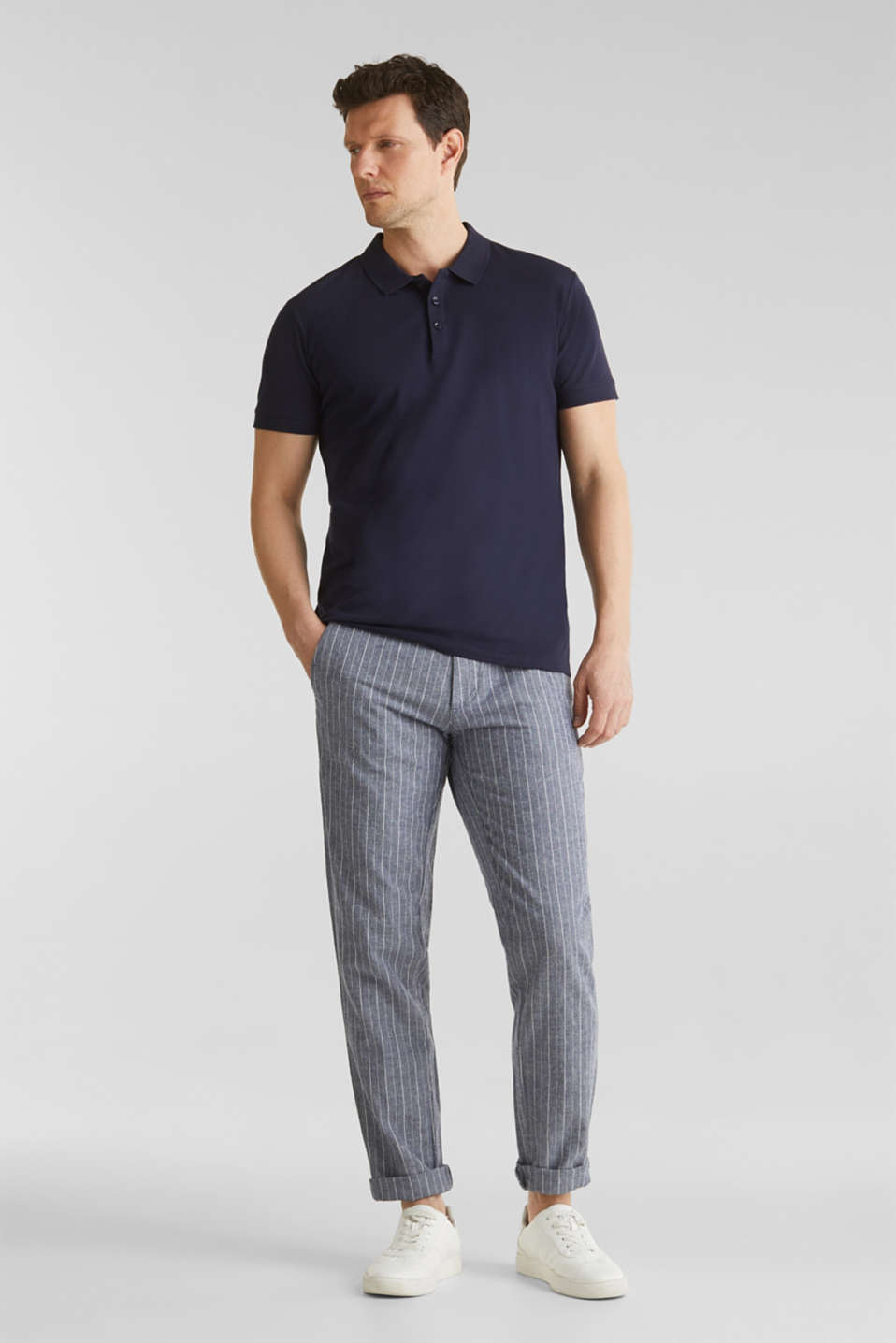 Blended linen: Drawstring trousers, BLUE, detail image number 1