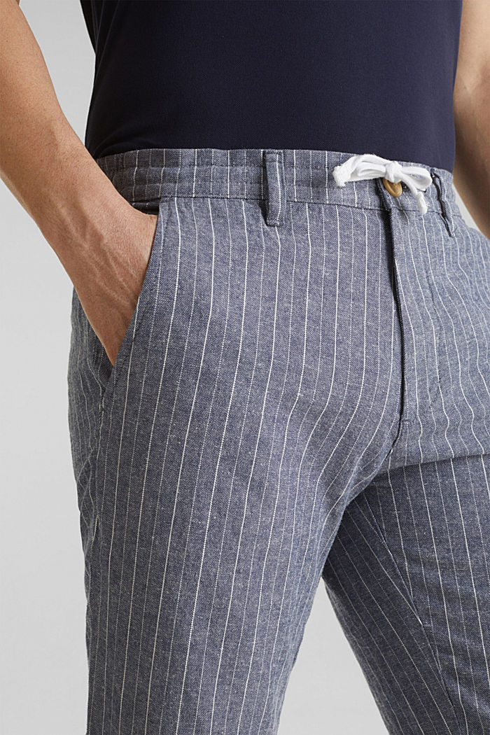 Blended linen: Drawstring trousers, BLUE, detail image number 2