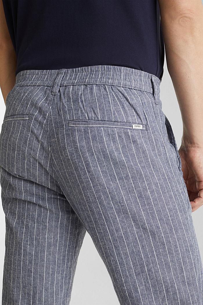 Blended linen: Drawstring trousers, BLUE, detail image number 5