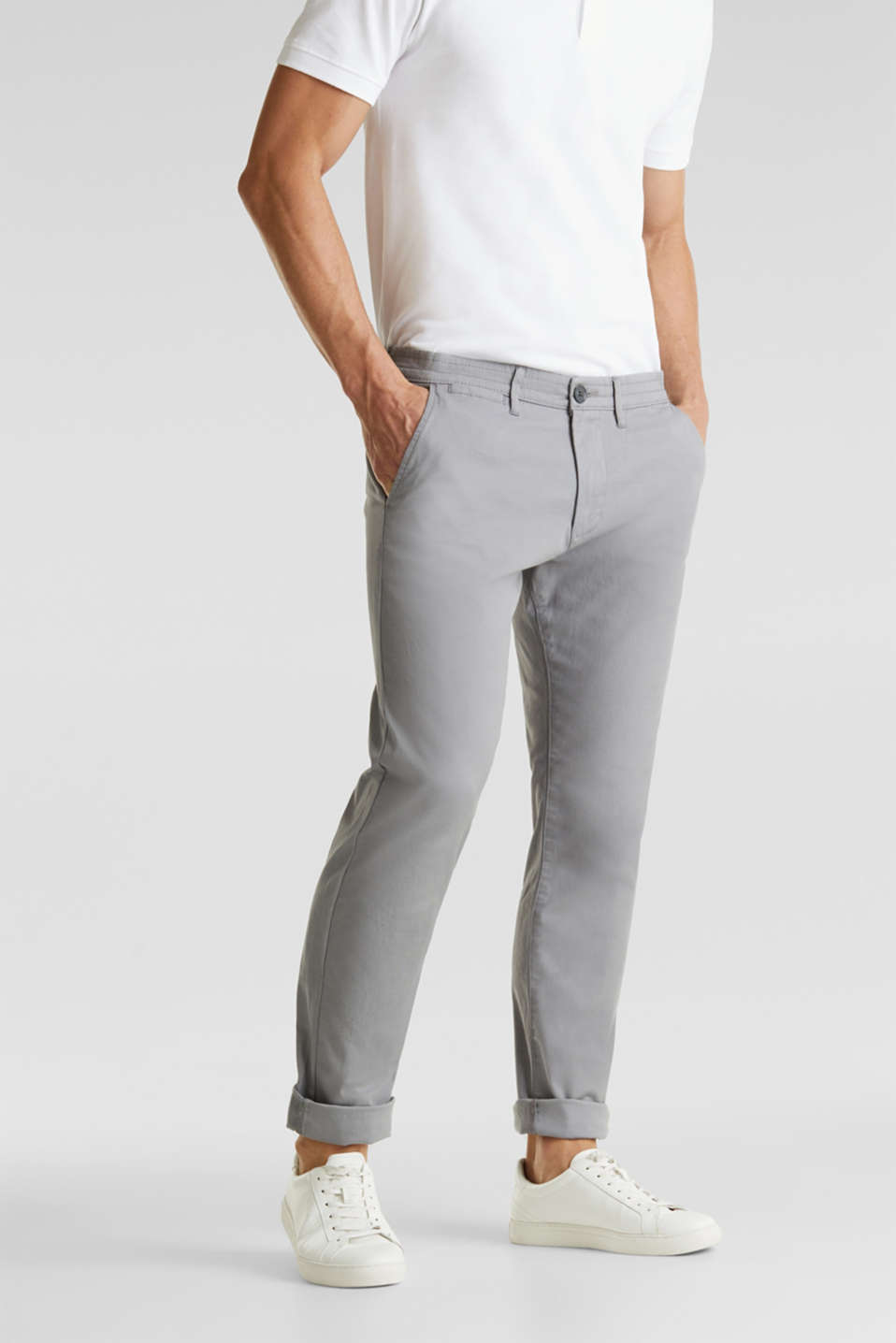 Stretch cotton twill trousers, MEDIUM GREY, detail image number 0