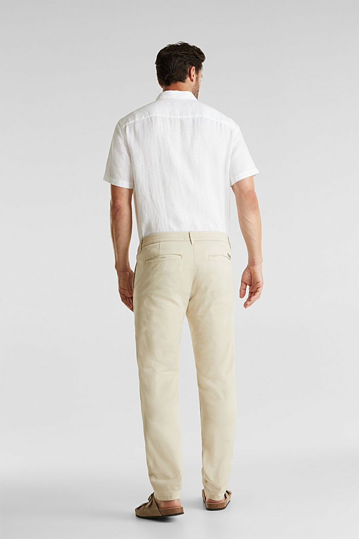 Stretch cotton twill trousers, BEIGE, detail image number 3