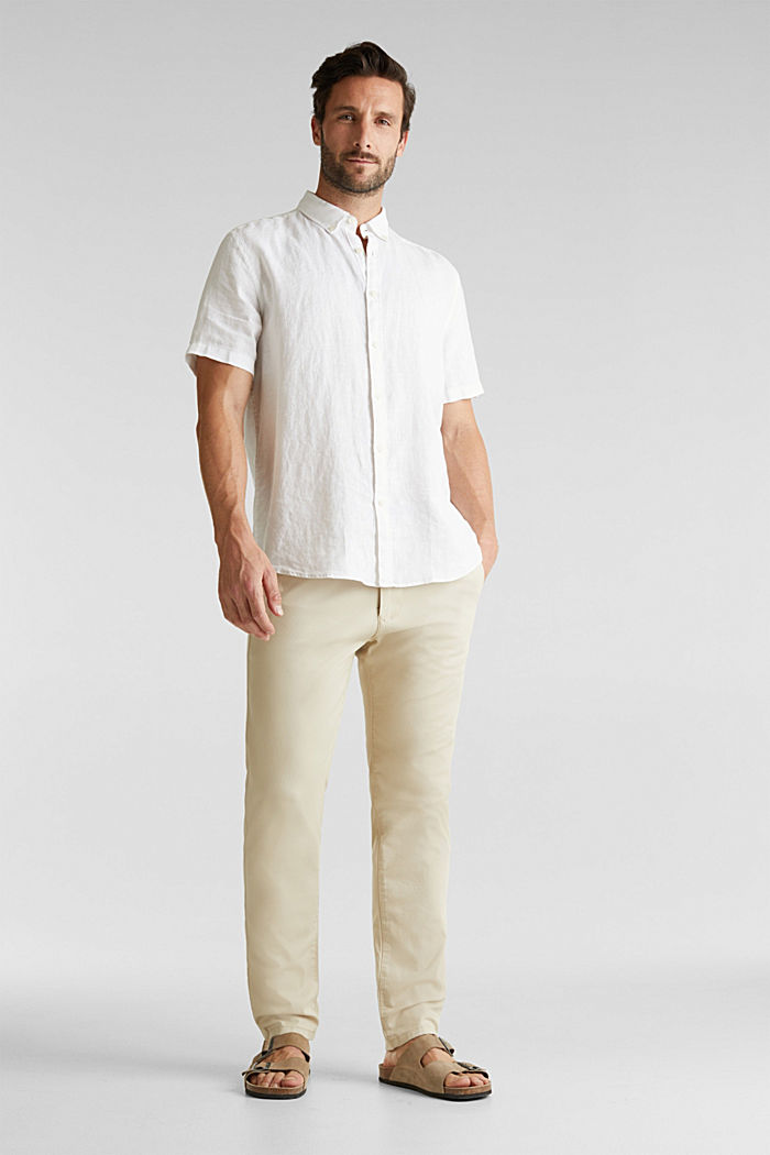 Stretch cotton twill trousers, BEIGE, detail image number 1