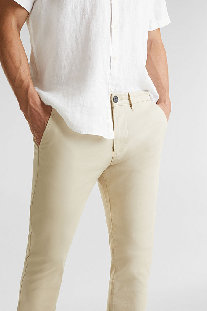 Stretch cotton twill trousers, BEIGE, detail image number 2
