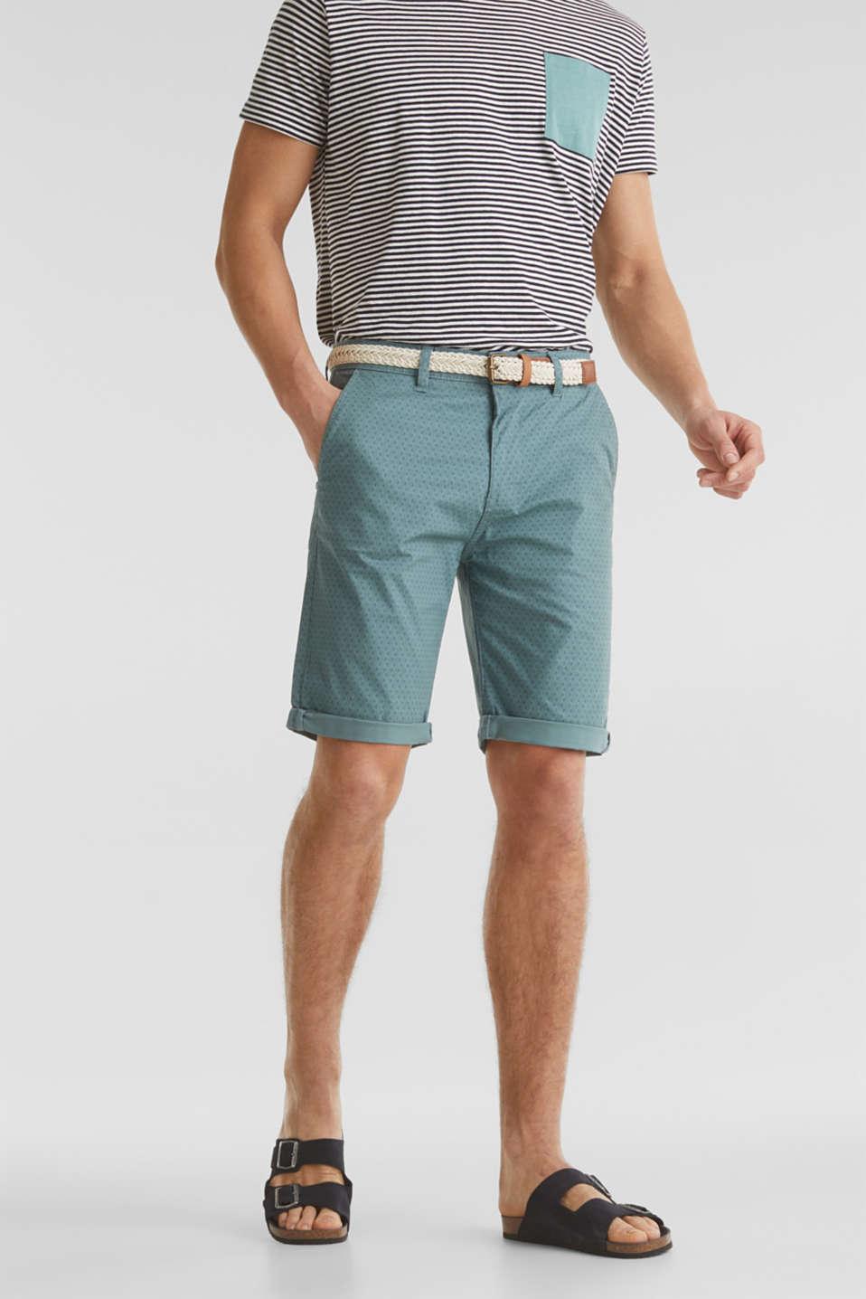 Organic cotton Shorts + belt, TEAL GREEN, detail image number 0