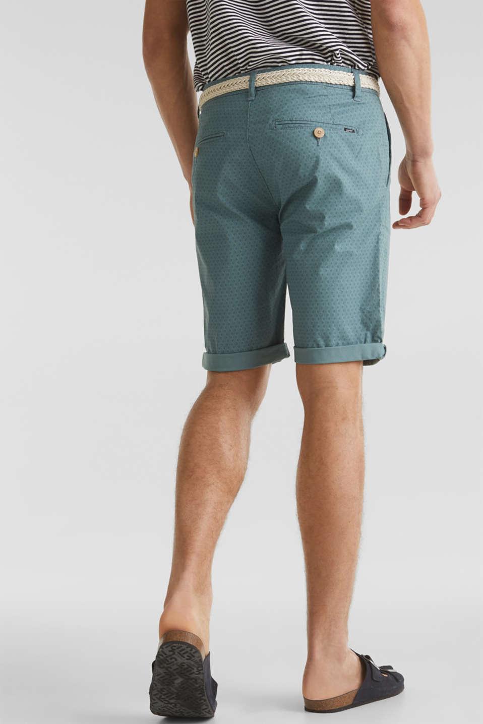 Organic cotton Shorts + belt, TEAL GREEN, detail image number 3