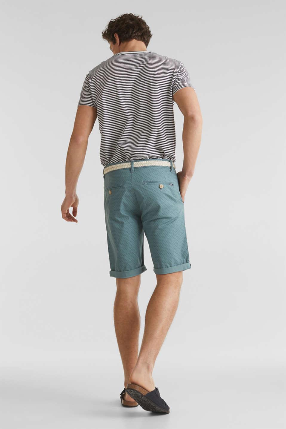 Organic cotton Shorts + belt, TEAL GREEN, detail image number 6