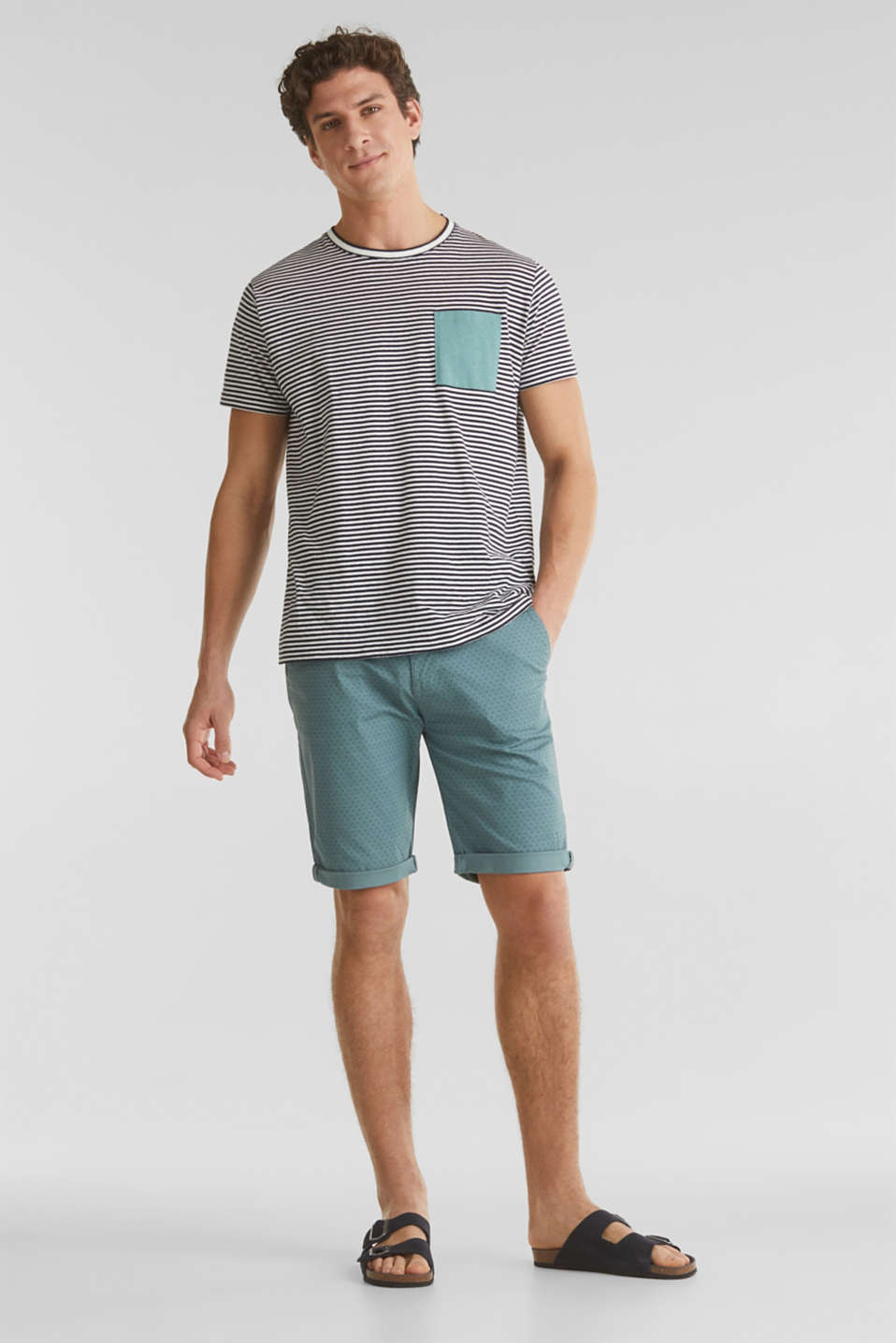 Organic cotton Shorts + belt, TEAL GREEN, detail image number 1