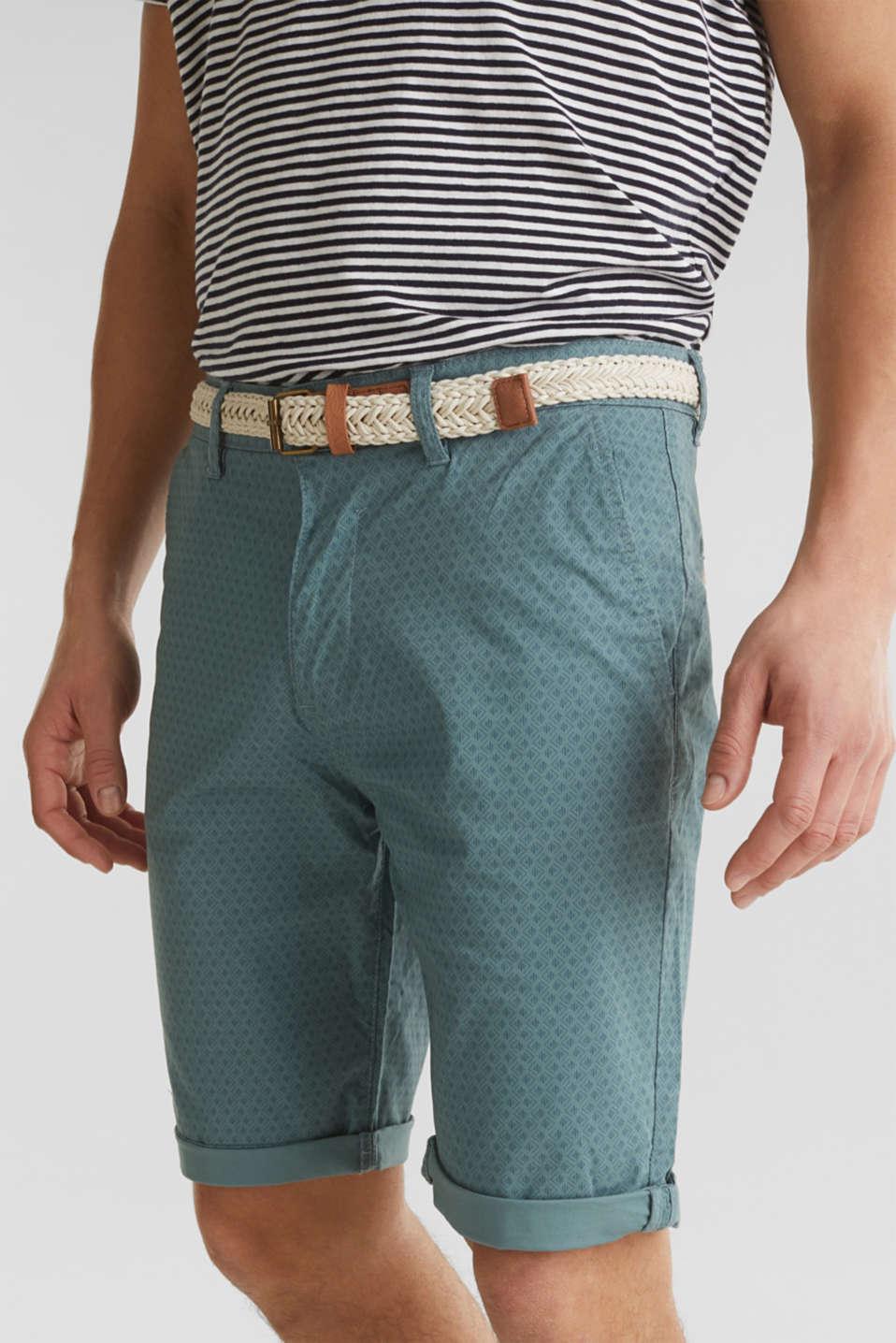 Organic cotton Shorts + belt, TEAL GREEN, detail image number 2