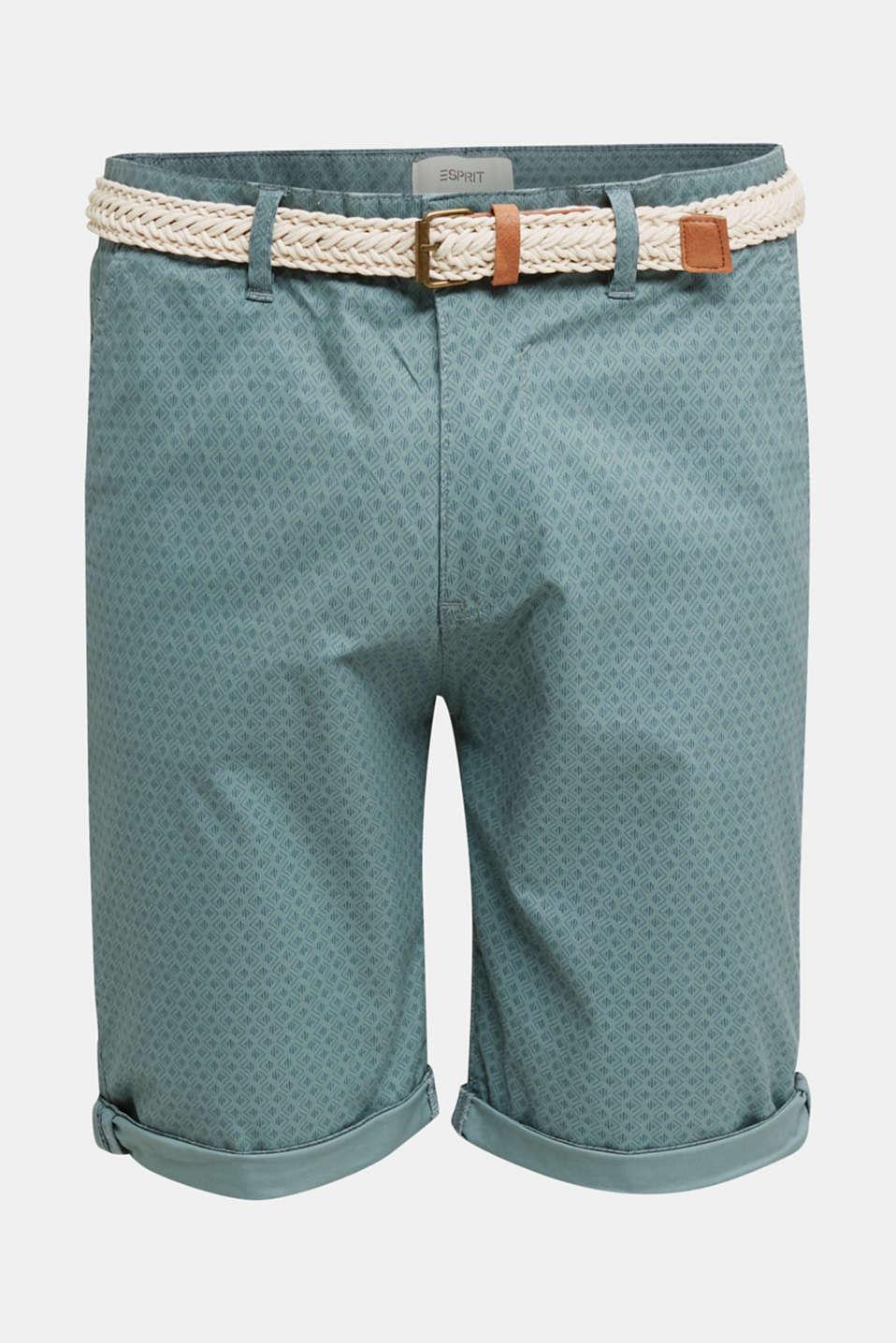 Organic cotton Shorts + belt, TEAL GREEN, detail image number 7