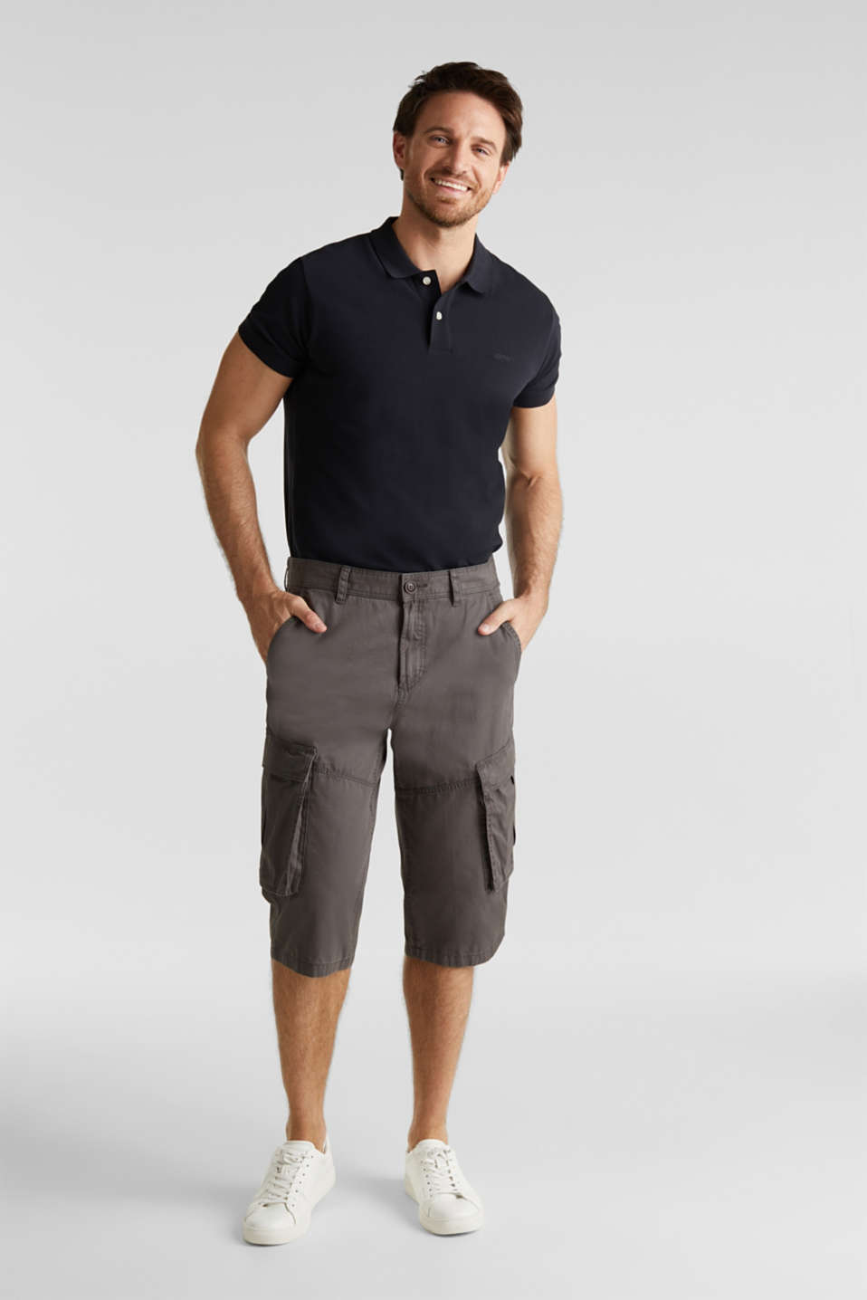 Cargo Bermudas in 100% cotton, DARK GREY, detail image number 1
