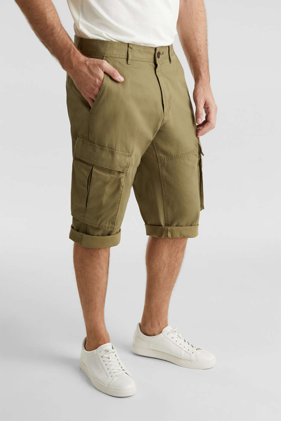 Cargo Bermudas in 100% cotton, OLIVE, detail image number 0