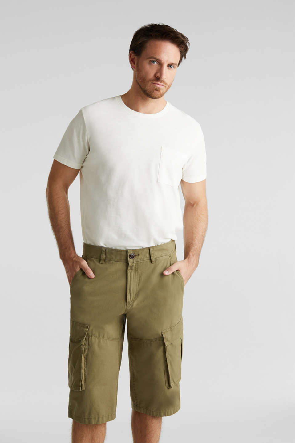 Cargo Bermudas in 100% cotton, OLIVE, detail image number 5