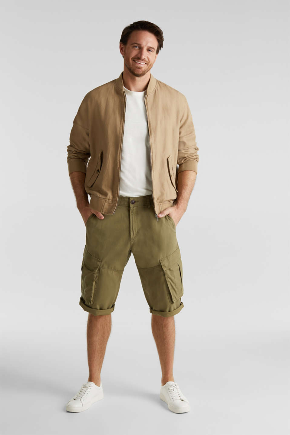 Cargo Bermudas in 100% cotton, OLIVE, detail image number 1