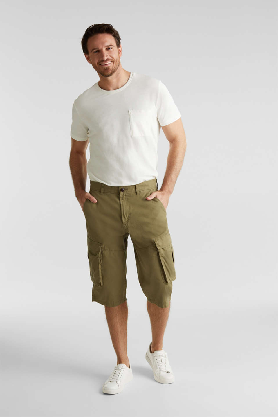 Cargo Bermudas in 100% cotton, OLIVE, detail image number 6