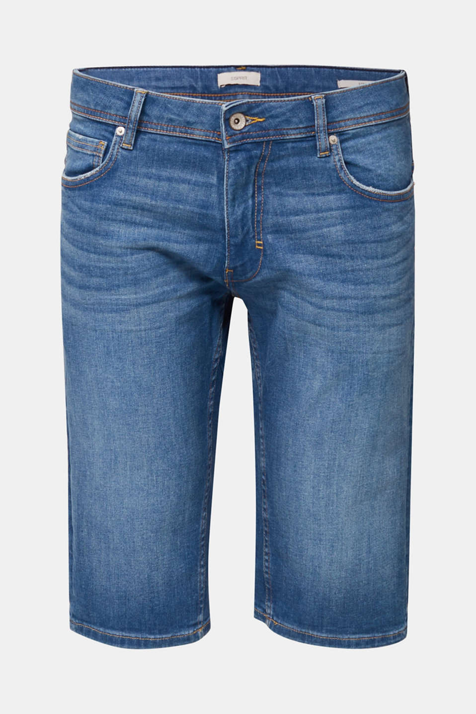 Denim Bermudas with a washed-out effect, BLUE MEDIUM WASH, detail image number 7